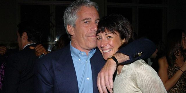 Jeffrey Epstein and Ghislaine Maxwell together in New York City on March 15, 2005. (Photo by Joe Schildhorn/Patrick McMullan via Getty Images)
