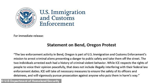 ICE officials said the two men had warrants out for their arrest and had a history of 'criminal violent behavior'