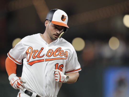 Baltimore Orioles' Trey Mancini runs the bases after hitting a solo home run on Aug. 1, 2019.