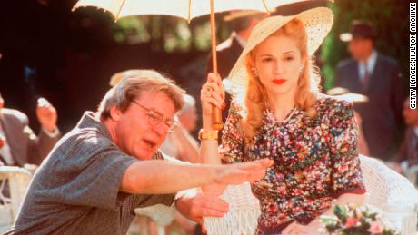 """Parker directs Madonna on the set of """"Evita"""" in 1997."""