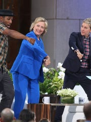 "DJ Stephen ""tWitch"" Boss, Hillary Clinton and Ellen DeGeneres attend 'The Ellen DeGeneres Show' Season 13 premiere at Rockefeller Center on Sept. 8."
