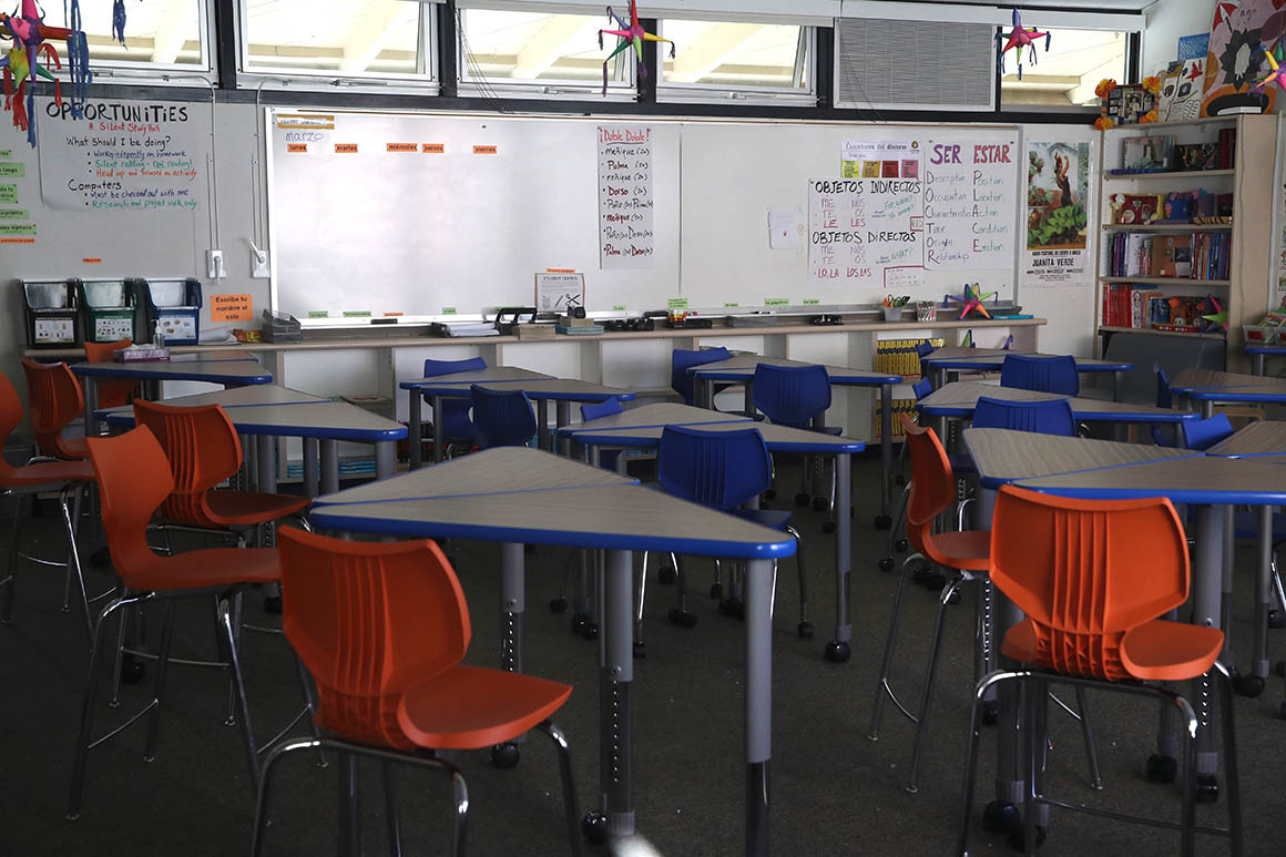 A California classroom sits empty | Getty Images