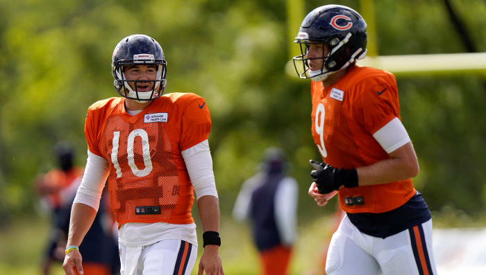 Newcomer Foles (right) appears to have the upper hand on Trubisky.