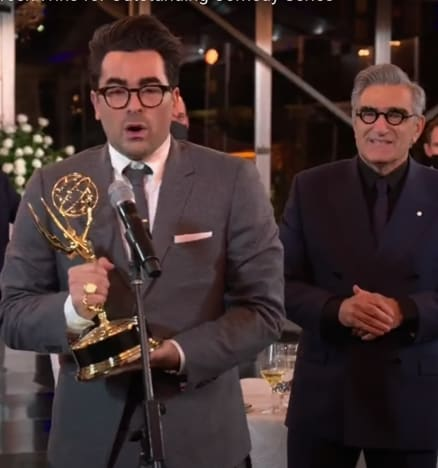 Dan and Eugene Levy Accept Emmy Awards