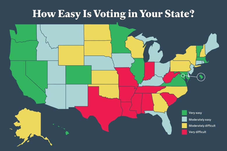 A map showing for each state whether it is very easy, moderately easy, moderately difficult, or very difficult to vote.